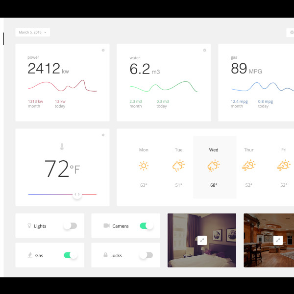 Home Monitoring Dashboard Free PSD